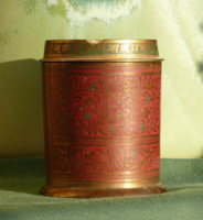 Indiai réz dohánytartó doboz, hamutartóval