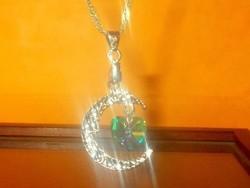 Szivárvány Topáz Félhold Csillag Szív 925 ezüst - Fehérarany Nyaklánc