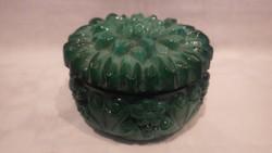 Zöld üveg bonbonier