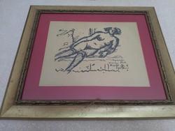 """""""Rónai"""" szignóval női aktot ábrázoló tusrajz"""