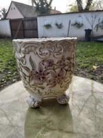 Zsolnay Orchidea mintás  Barokk lábas kaspó