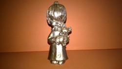 Kislány macival - fém miniatúra , polcdísz