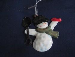 Retro fém Hóember karácsonyfadísz