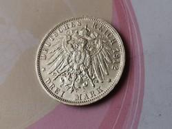 1912 Württemberg ezüst 3 márka 16,6 gramm 0,900 Ritkább