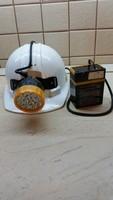 Régi bányász sisak, fejlámpával, akkumulátorral  eladó!
