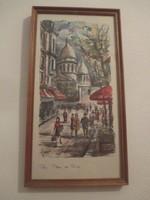 Sacré Coeur Párizsi utcakép,akvarell festmény 39 x 21 cm.