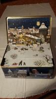 Régi különleges karácsonyi puszedlis doboz Nürnbergből, belül dimenziós képpel