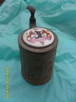 Antik  céh emblémás  kézi festésű porcelán és ón fedeles korsó