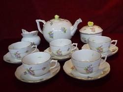 Herendi porcelán teáskészlet, 1950-ből, öt személyes.