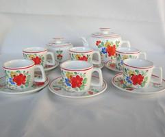 Gránit kerámia kézzel festett virágos 6 személyes kávéskészlet