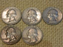 1963 Amerikai ezüst 1/4 dollár D veret 5 db együtt.