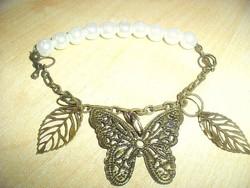 Pillangó hófehér tenyésztett Igazgyöngy karkötő