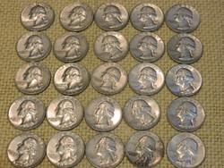 1964 Amerikai ezüst 1/4 dollár 25 db együtt.