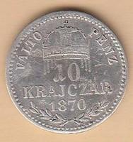 Ezüst 10 Krajcár 1870 Magyar állami váltópénz