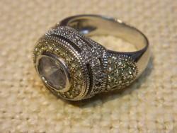 Jelzett cirkon köves ezüst gyűrű