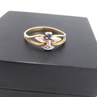 Gyémánt-3db, zafír arany 18 karátos gyűrű Jelzett 2,2 g