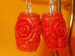 Faragott Rózsa Korall kézműves 925 ezüst Fülbevaló