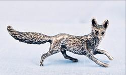 Róka miniatűr ezüst magyar régi fémjellel