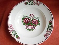 Gránit porcelán virág kosaras fali tányér