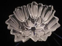 Walther Glas opál tulipános vastag üveg ,virág díszes  hibátlan kínáló 17 x, 9cm
