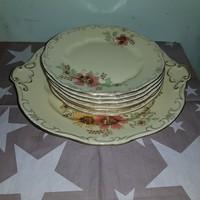 Zsolnay szegfű mintás süteményes készlet