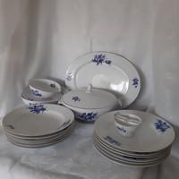 Fehér-kék, virág mintás porcelán étkészlet, tányér készlet