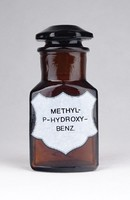 0Y784 Régi METHYL P HYDROXY BENZ patika üveg 10 cm