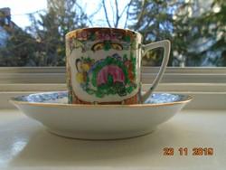 Jingdezhen Famille Rose aranyzománc kézzel festett  kávés csésze alátéttel