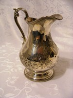 Meseszép, antik, ezüstözött, csillogó felületű,  asztali olaj vagy ecet kiöntő