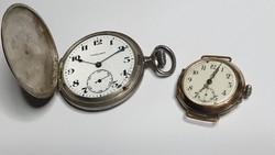 Duplafedeles Ezüst VIGILANT zsebóra javításra szorul, és egy Különleges, 800-as ezüst karóra az 1920