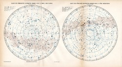 Északi és Déli csillagos ég térkép 1906, eredeti, német, csillagászat, csillag, égbolt, csillagkép