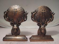 2 db bronz könyvtámasz-dísz - szobor