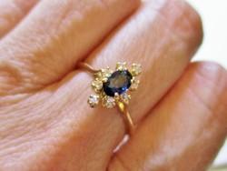Szépséges  valódi zafír és 0.2ct  brill arany gyűrű