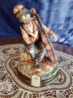 Nagyméretű Capodimonte zenész figura 35 cm