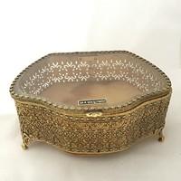 Antik francia Gorgeous 24K aranyozott filigrán üveges ékszertartó doboz