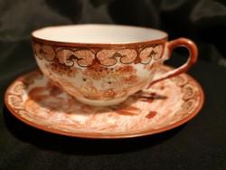 Antik japán kézzel festett tojáshéj porcelán csésze és alj