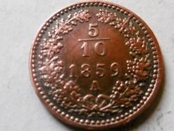 Bronz 5/10 Krajcár Osztrák 1859