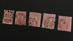 5  K. színes értékjelzéses 1883,1884,1885,1886,1887