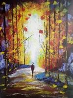 Erdei úton c.festmény ,tájkép