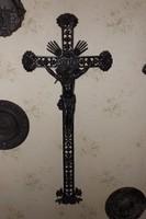 Eredeti Rózsás 200 éves Antik öntöttvas kápolna kereszt feszület 100 cm felújított