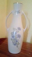 Hollóházi váza, kék virágos, kétfülű