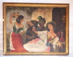 Spanyol Cigányok, nagyméretű olaj festmény