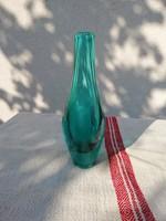 Retro cseh zöld üveg váza