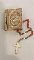 Gyönyörű szép antik ezüst medálion, szelence, olvasó Rózsafüzérrel