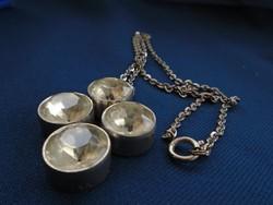 Vintage női orvosi fém nyaklánc pezsgő színű kövekkel bril csiszolással