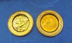 Régi egyiptomi réz dísztányér párban (2/p)