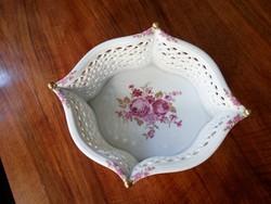 Virágmintás Wallendorf porcelán asztalközép, kínáló kosár  / nagyméretű /