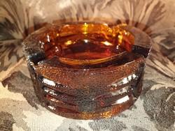 G_002 Retro színezett üveg borostyánsárga hamutál