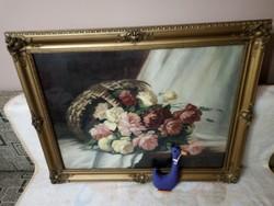 """19149I1 Farkas József festmény """"Virágcsokor"""" olaj+vászon blondell keretben"""
