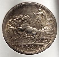 Gyönyörű, patinás ezüst 2 Líra 1916, Olaszország.